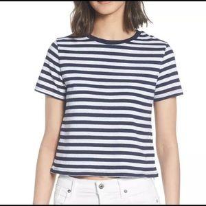 Topshop striped crop t-shirt tee